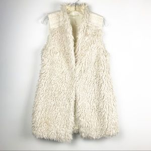Anthropologie faux fur vest embroidered small
